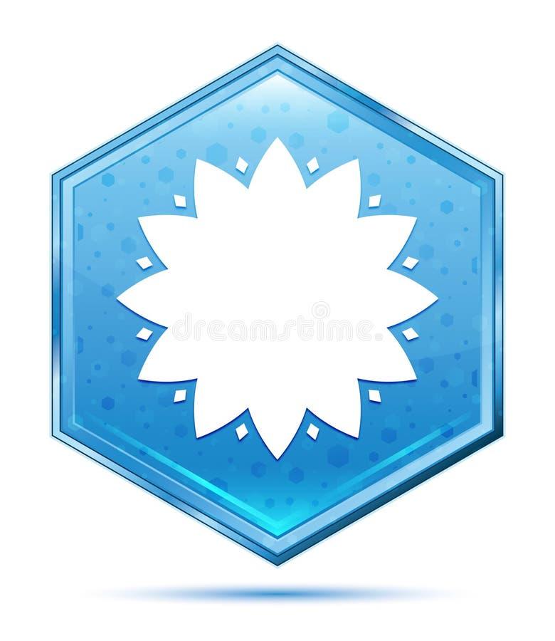 Blad het kristal blauwe hexagon knoop van het bloempictogram vector illustratie
