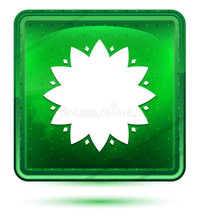 Blad het neon lichtgroene vierkante knoop van het bloempictogram vector illustratie