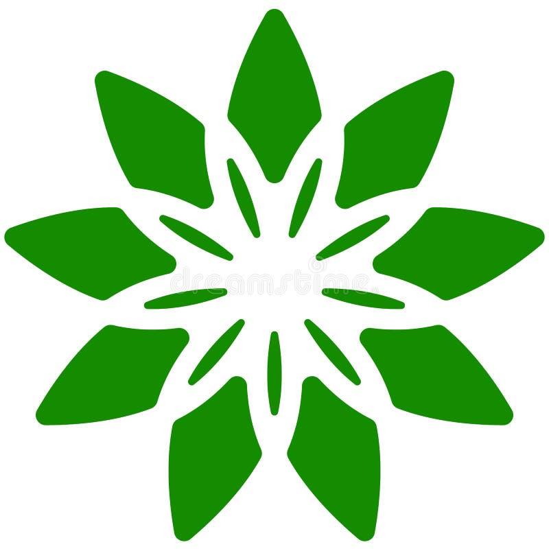 Blad, installatiepictogram Cirkel geometrisch motief met bloemblaadjes vector illustratie