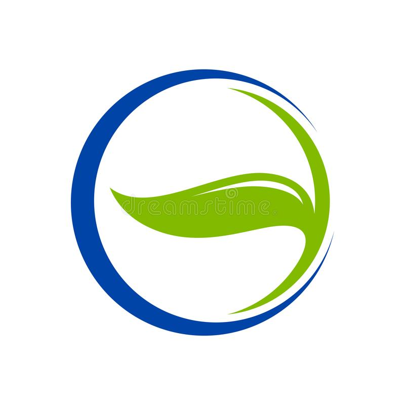 Blad Kruidenblue circle Crescent Symbol Logo Design royalty-vrije illustratie
