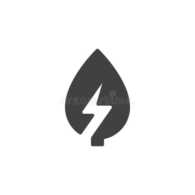 Blad met het pictogram vector, gevuld vlak teken van de bliksembout, stevig die pictogram op wit wordt geïsoleerd stock illustratie