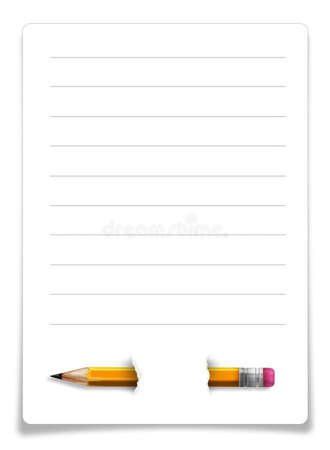 Blad van document met potlood op wit wordt geïsoleerd dat stock illustratie