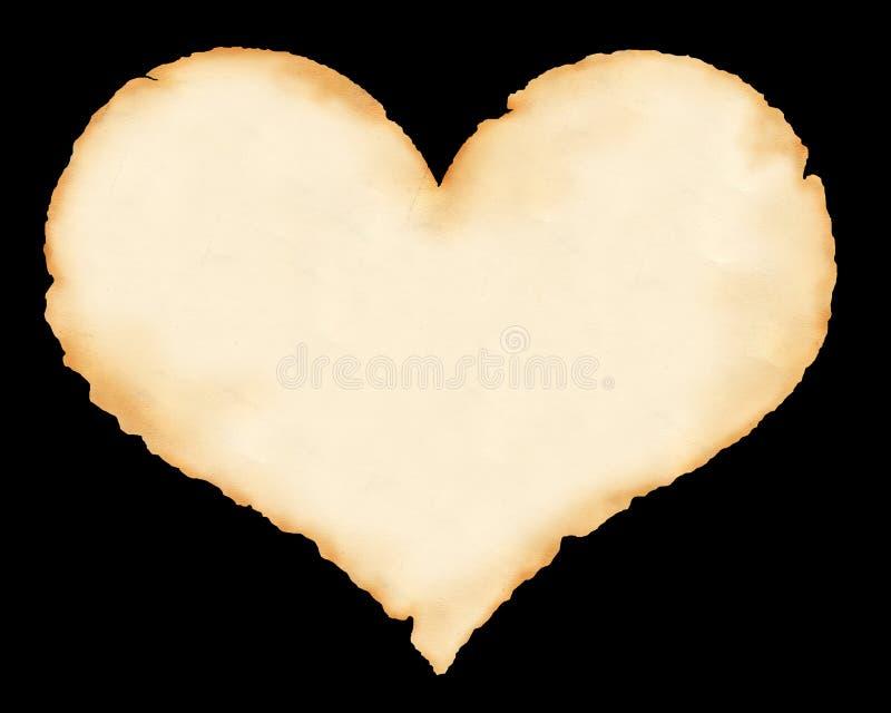 Blad van een oud document in de vorm van hart royalty-vrije stock afbeelding