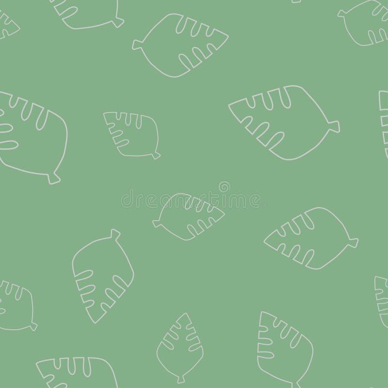 Blad van een oud naadloos patroon van de boomcontour vector illustratie
