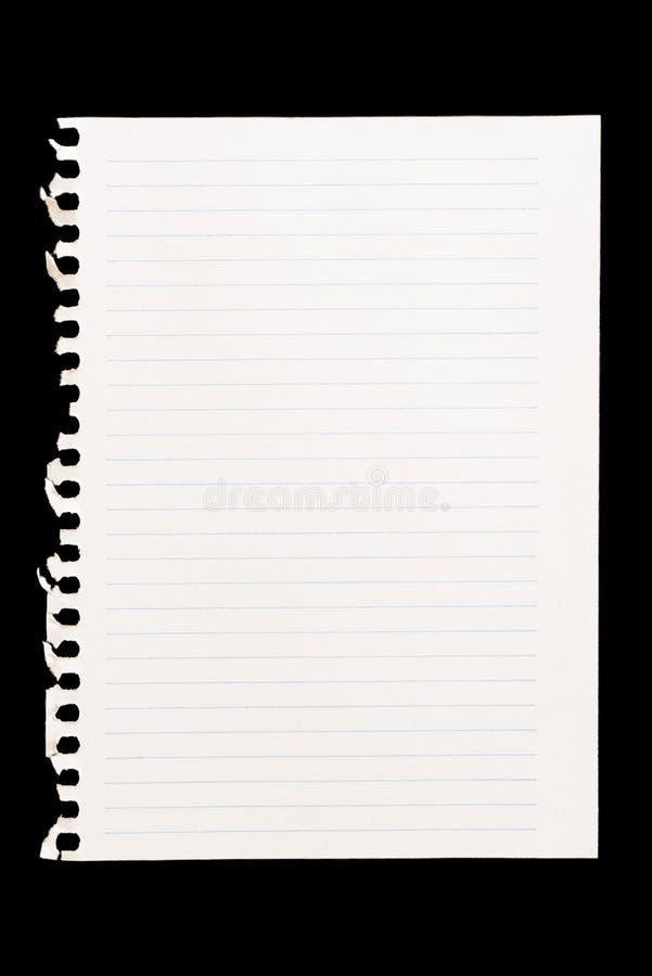 Blad van notitieboekje dat als achtergrond in samenstellingen moet worden gebruikt stock afbeelding