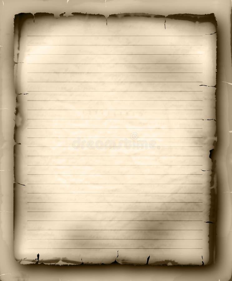 Blad van oud beslist document stock illustratie