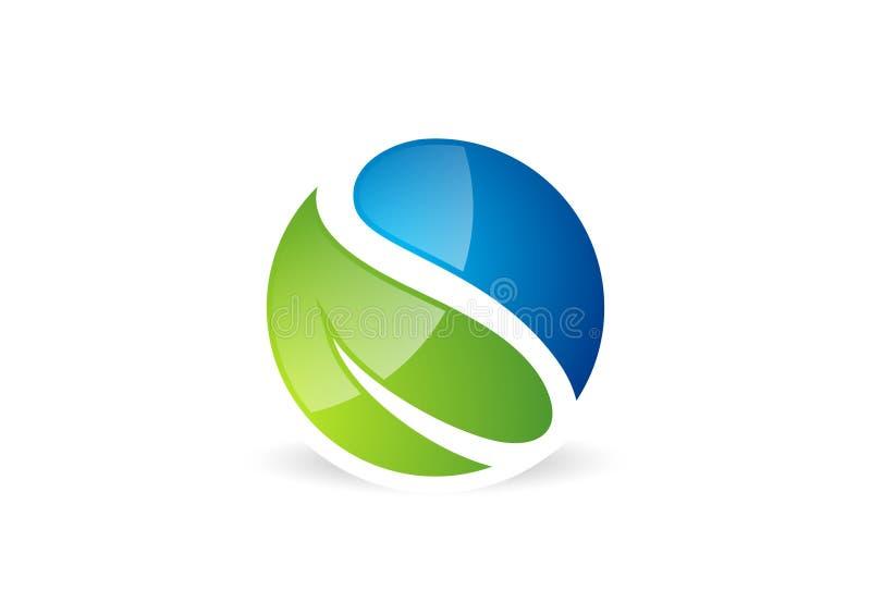 Blad waterdrop, logo, cirkel, växt, vår, naturlandskapsymbol, global natur, symbol för bokstav s vektor illustrationer
