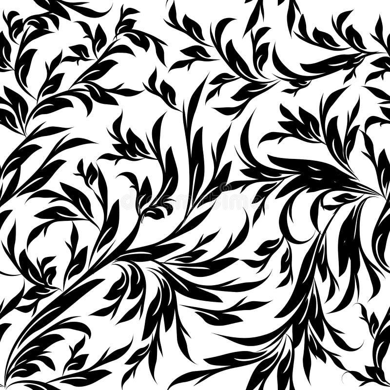 Blad zwarte witte ornamenten Eindeloze textuur vector illustratie