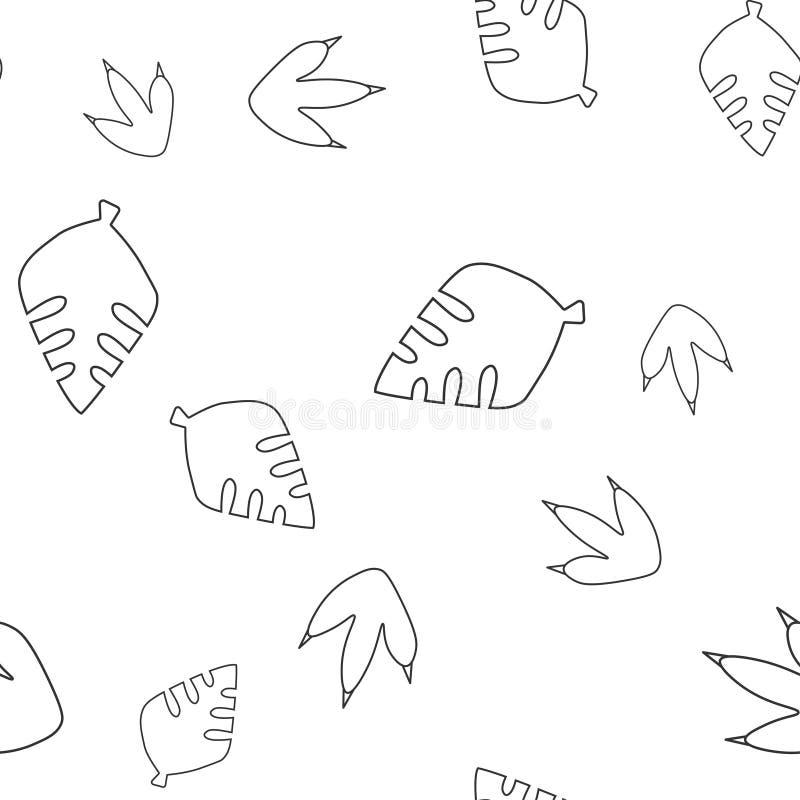 Bladboom en het naadloze patroon van de dinosaurusvoetafdruk royalty-vrije illustratie