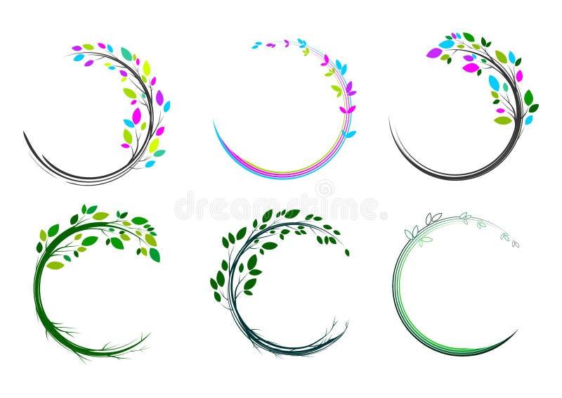 Bladcirkellogo, brunnsort, massage, gräs, symbol, växt, utbildning, yoga, hälsa och naturbegreppsdesign royaltyfri illustrationer