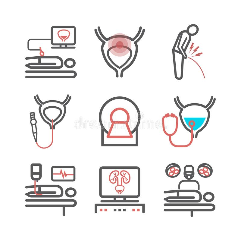 Bladder Cancer. Symptoms, Causes, Treatment. Line icons set. Vector signs for web graphics. Bladder Cancer. Symptoms, Causes, Treatment. Line icons set. Vector stock illustration