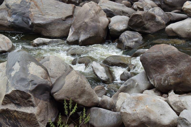 Bladdra bäck i berg som har en stenig terräng och ett härligt landskap royaltyfri foto