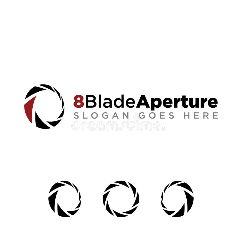 8 Blade Aperture Photography Logo Large Opening. Aperture blade for photography company logo set with modern look. black logo with red accent color vector illustration