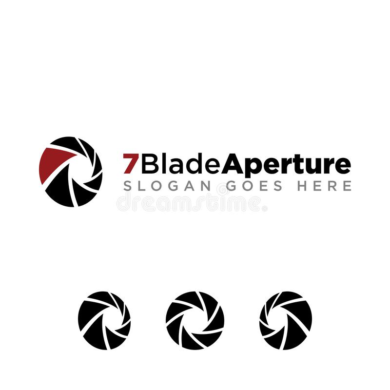 7 Blade Aperture Photography Logo Medium Opening stock illustration