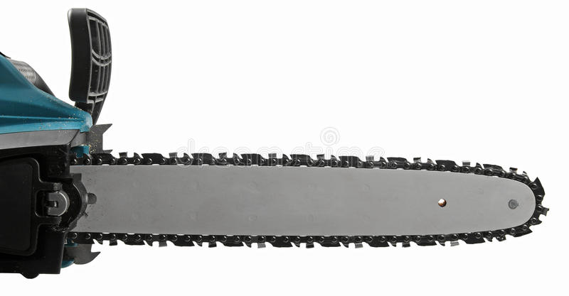 Blade of a chainsaw isolated on white stock photo