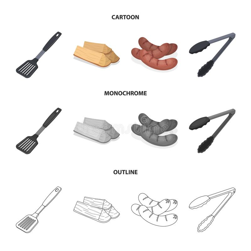 Blade kitchen, firewood, sausages and other for barbecue.BBQ set collection icons in cartoon,outline,monochrome style. Vector symbol stock illustration royalty free illustration