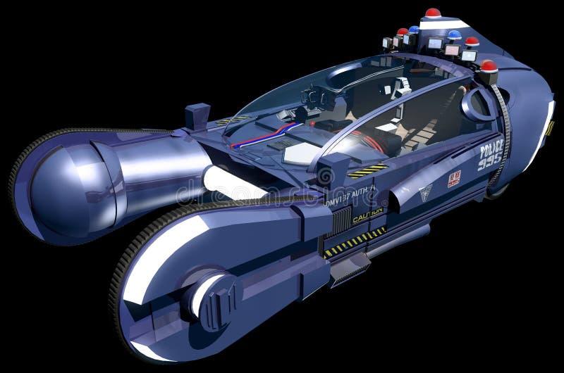 Blade runner spinner car isolated on a black background stock illustration