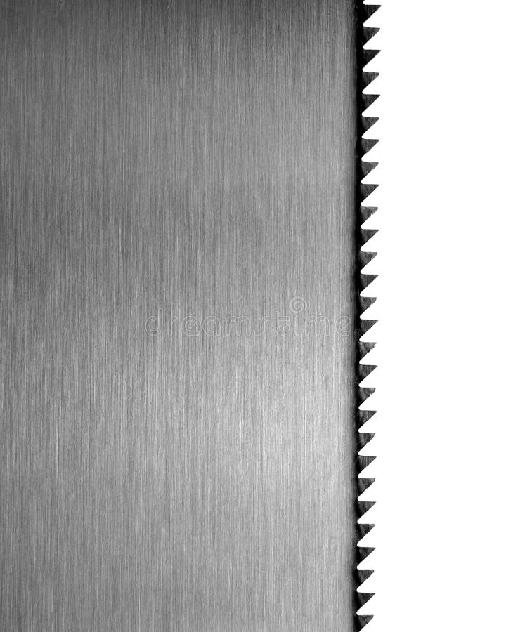Blade of saw. Closeup isolated on white background royalty free stock image
