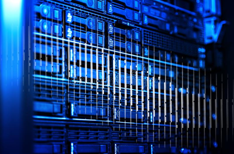 Blade server array selective focus depth of field 3d rendering. Concept of cyber crime hacking data theft. Technology and network under risk need of cloud stock illustration