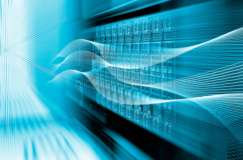Blade server equipment rack data center closeup and blur blue toning stock photos