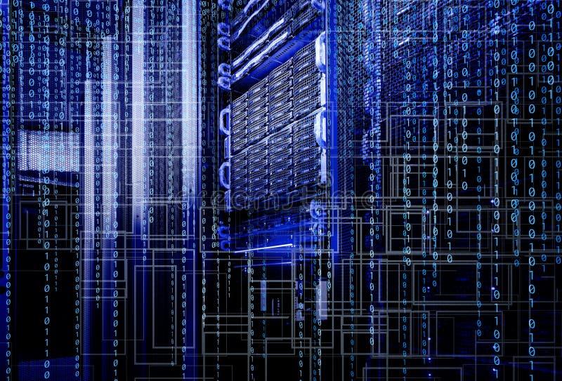 Blade storage supercomputer of data center binary code royalty free stock photo