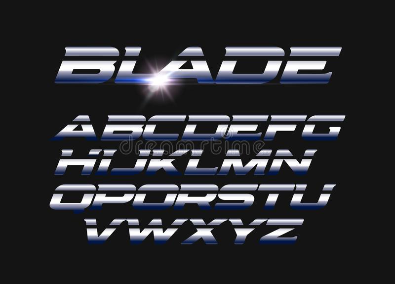 Blade vector letters set. Slashed alphabet with sleek steel texture. Sleek metal style vector latin alphabet. Typography stock illustration