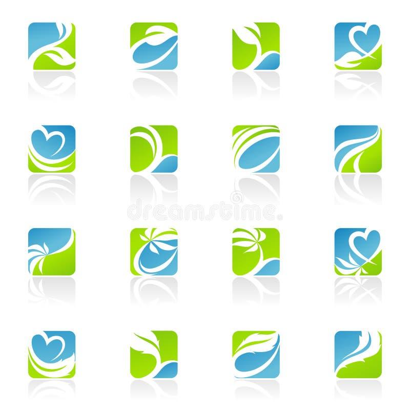 Bladeren. De vector reeks van het embleemmalplaatje. vector illustratie
