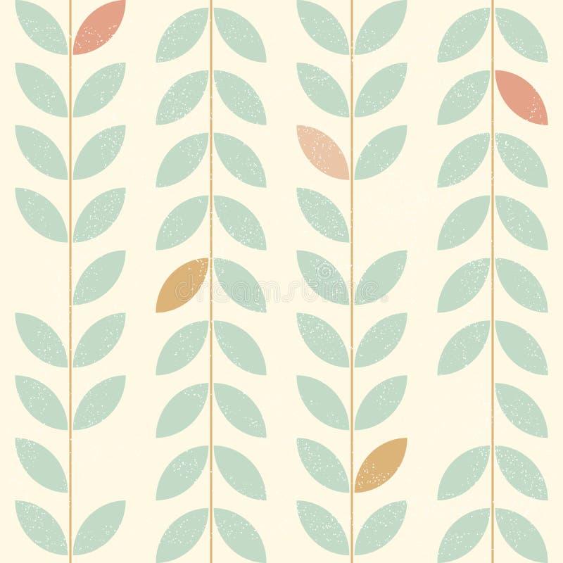Bladeren eenvoudig verticaal patroon, naadloze vectorachtergrond in retro Skandinavische stijl Uitgeputte textuur royalty-vrije illustratie