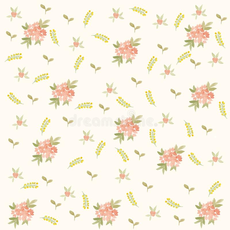 Bladeren en Bloemen de Lentepatroon stock afbeeldingen