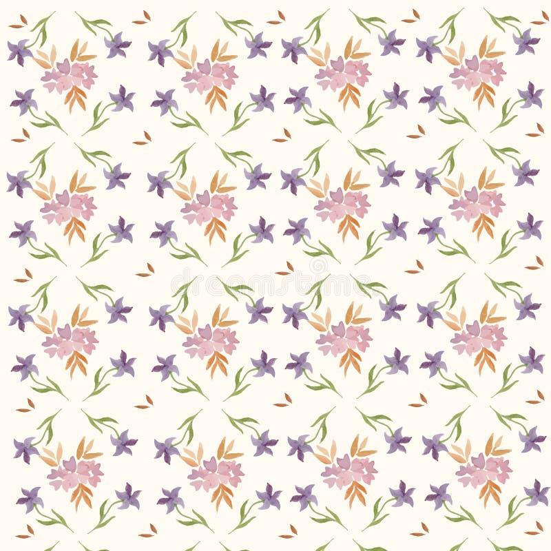 Bladeren en Bloemen de Lentepatroon royalty-vrije stock afbeelding