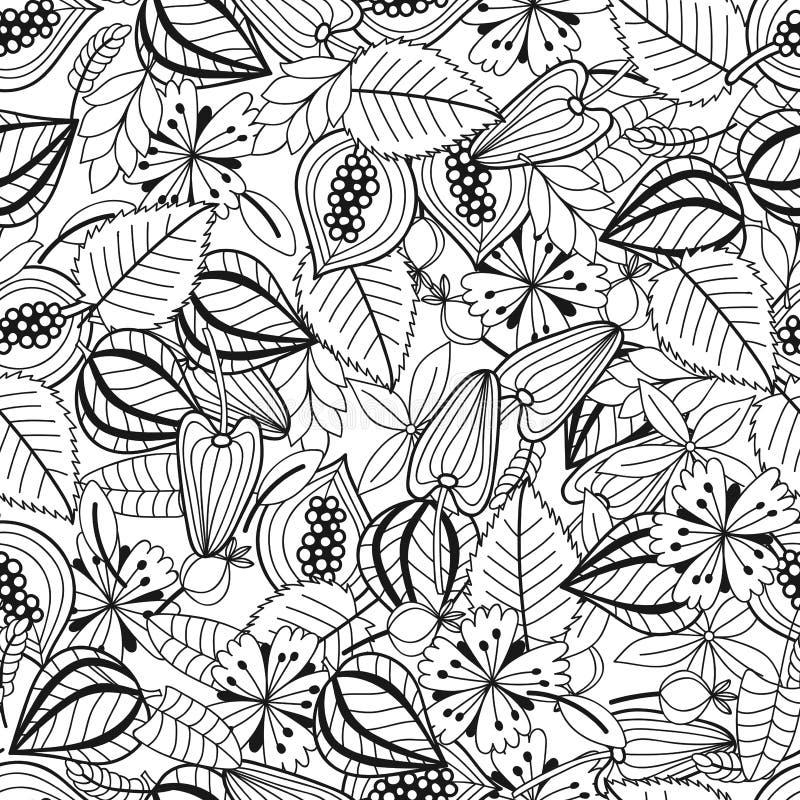 Bladeren en bloemen Zwart-witte illustratie voor het kleuren van boek Naadloos patroon royalty-vrije illustratie