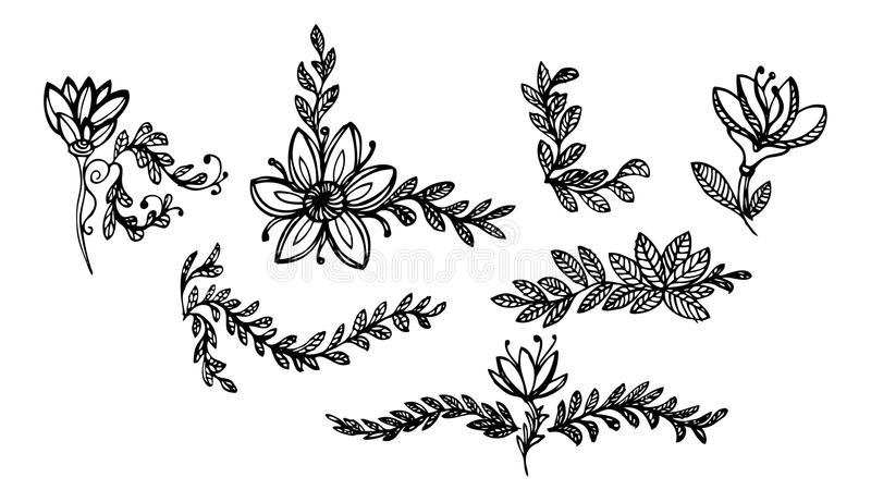 Bladeren en bloemenornamenten 1 stock illustratie