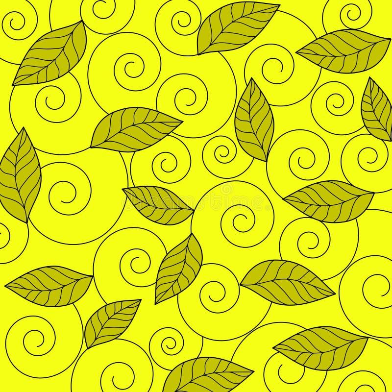 Bladeren en spiralen - Vector stock illustratie