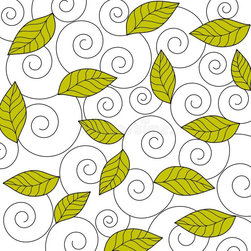 Bladeren en wervelingen vector illustratie