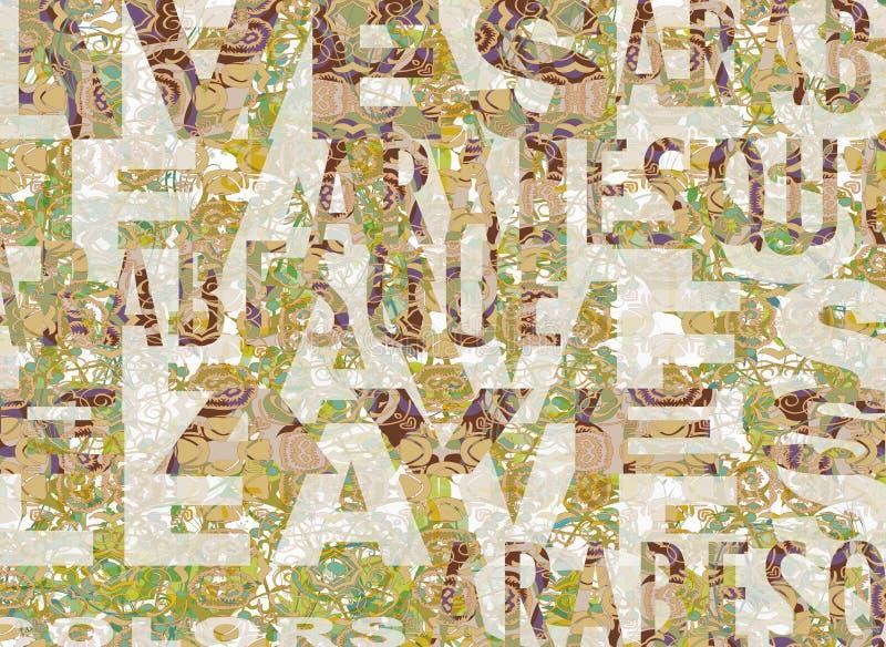 Bladeren en woorden royalty-vrije stock afbeelding