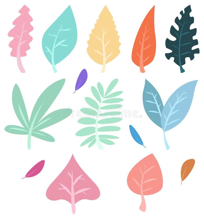Bladeren geplaatst die op witte achtergrond worden geïsoleerd vector illustratie