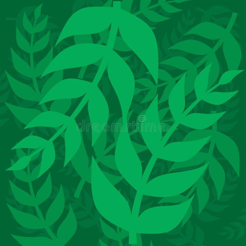 Bladeren Groene bladtakjes op een groene achtergrond stock foto