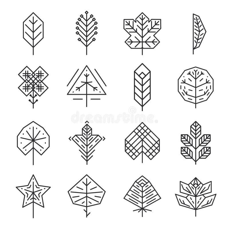 Bladeren van de Hipster de geometrische dunne lijn voor emblemen en royalty-vrije illustratie