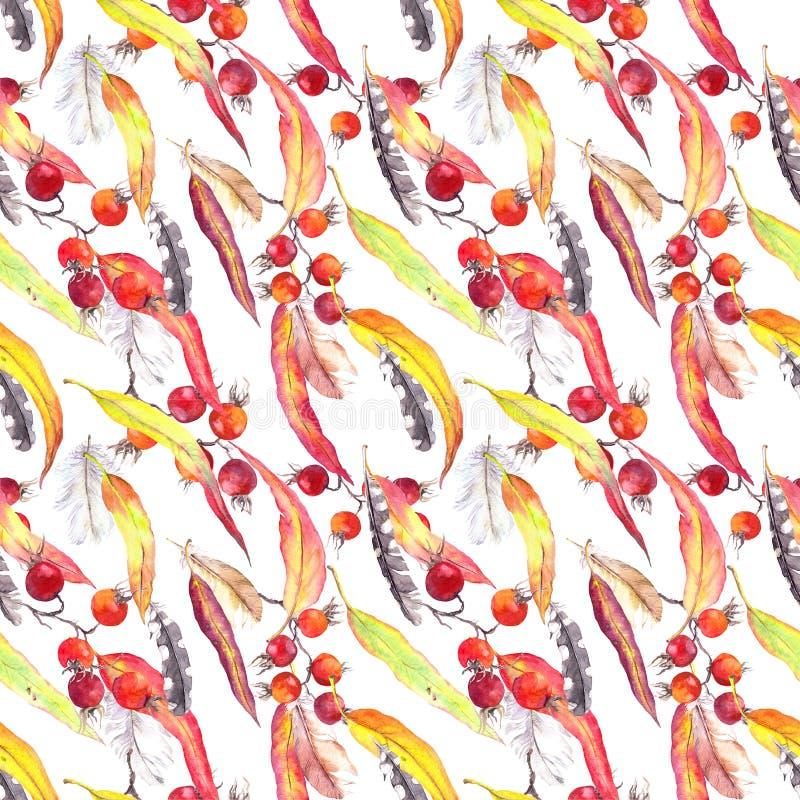 Bladeren, veren, bessen Naadloos de herfstpatroon watercolor stock illustratie