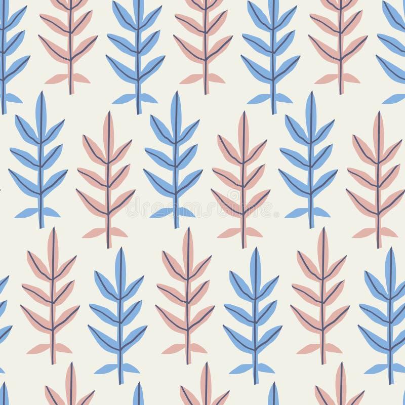 Bladeren vlak hand getrokken naadloos patroon vector illustratie