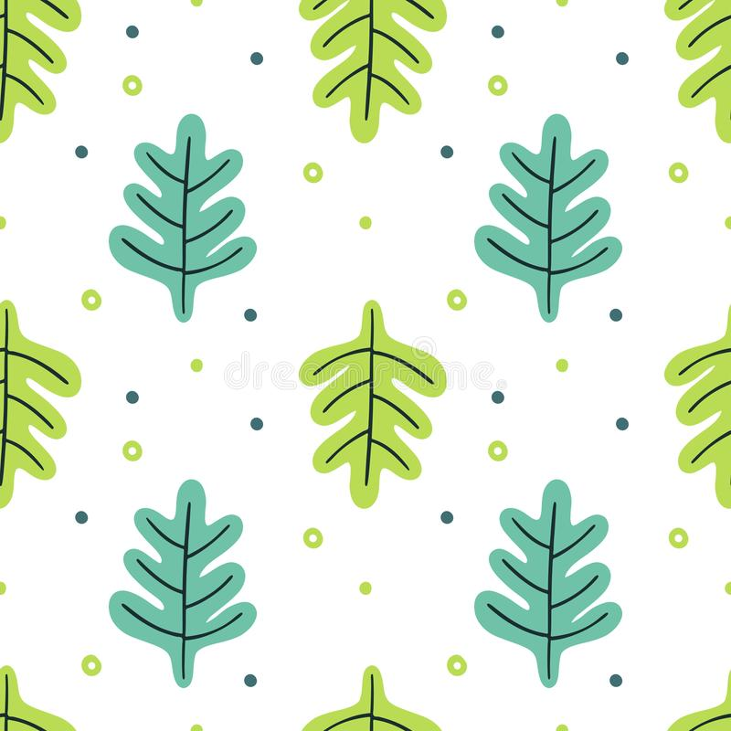 Bladeren vlakke reeks Naadloze patroon Tropische die installaties op witte achtergrond worden geïsoleerd Aard eenvoudige groene b vector illustratie