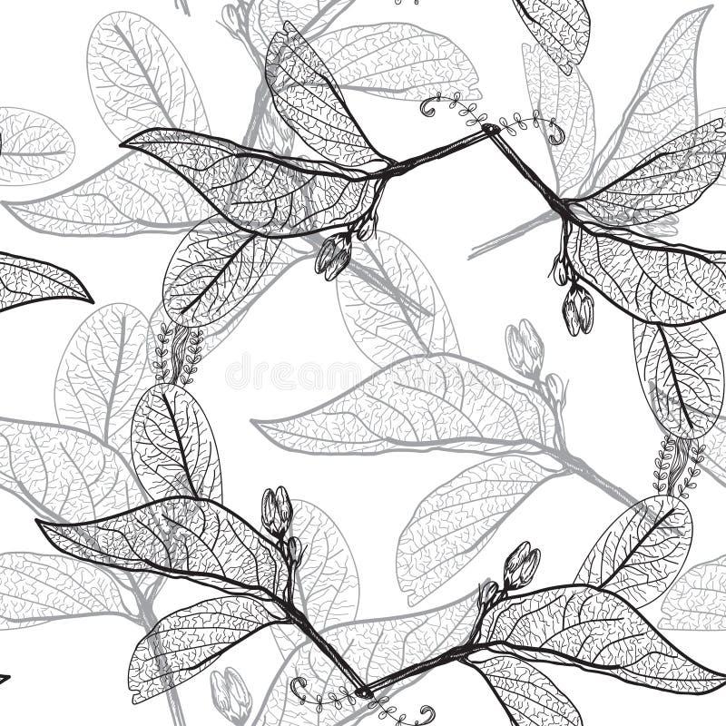 Bladerencontouren op een witte achtergrond bloemen naadloos patroon, vector illustratie