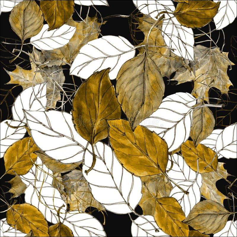 Bladerenkers, waterverf, naadloos patroon vector illustratie