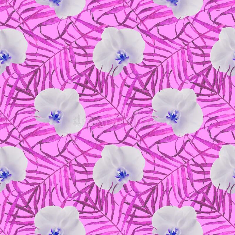 Bladerenpalmen met roze van het orchidee het naadloze patroon vector illustratie