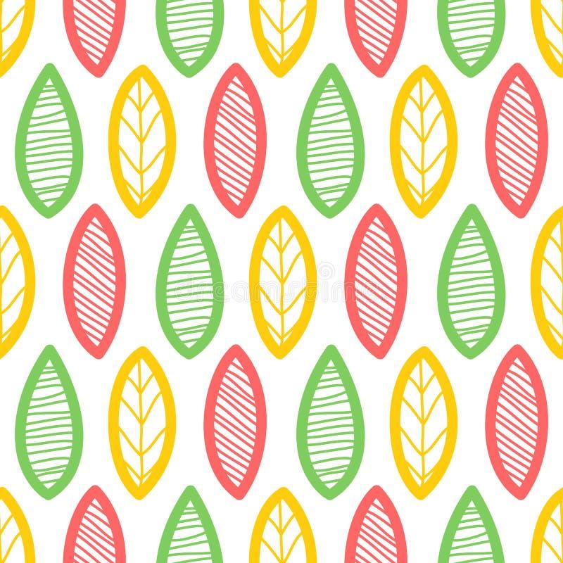 Bladerenpatroon Eindeloze achtergrond naadloos vector illustratie