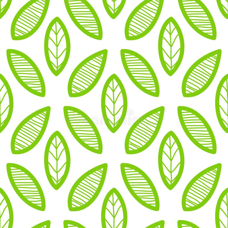 Bladerenpatroon Eindeloze achtergrond naadloos stock illustratie