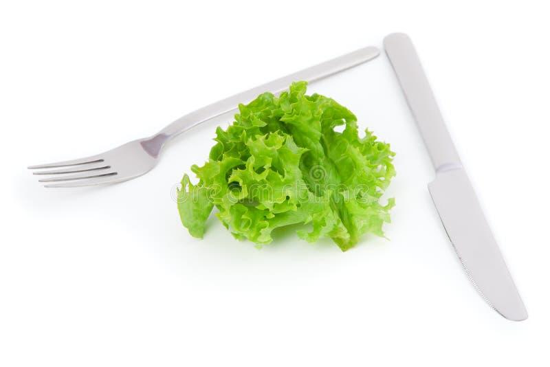 Bladerensla met mes en vork stock afbeeldingen