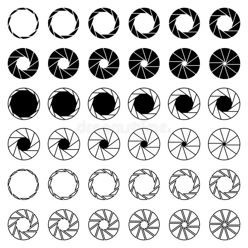 10 Blades Camera Aperture Shutter Icons. A set of 36 multiple styles 10 blades camera aperture shutter icons vector illustration