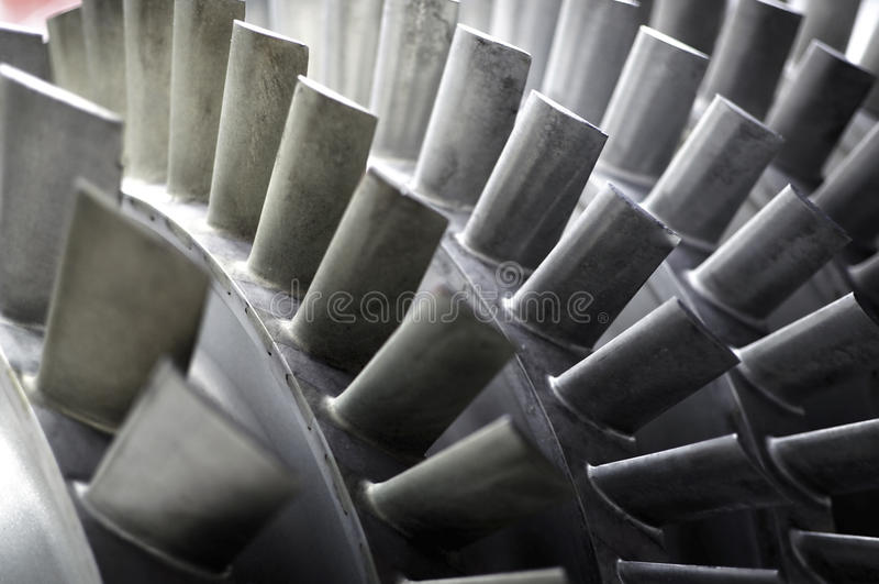 Blades of a Jet Engine. Detail of a jet engine's blades royalty free stock photo