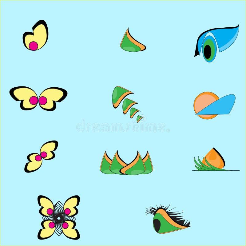 Bladet växten, logoen, ekologi, folket, wellnessen, gräsplan, sidor, natursymbolsymbol ställde in av vektordesigner och tecknad f royaltyfri illustrationer